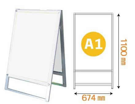 ポスター用スタンド看板マグネジ A1 片面 ホワイト